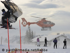 Photo: An evac helicopter lands in a skiing area
