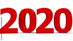 Image: Year 2020, written in big red numbers on white ground; Copyright: panthermedia.net/Oakozhan