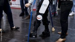 Image: exoskeleton at MEDICA trade fair; Copyright: Messe Düsseldorf