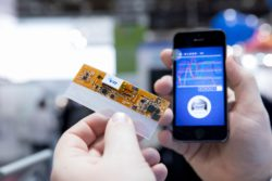 Image: Person holding adhesive chip for measuring body parameters next to smartphone; Copyright: Messe Düsseldorf