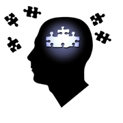 Photo: Image of human head with puzzles