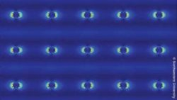 Image: silver nanopillars on a blue background; Copyright: Northwestern University