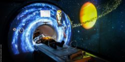 Image: Children lying in MRI, space setting; Copyright: Klinikum Dortmund/Dr. Lindel