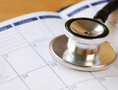 Photo: Stethoscope and calender