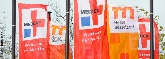 Photo: flags in the wind; © Messe Düsseldorf