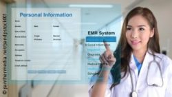 Image: Woman pointing on a virtual EMR; Copyright:  panthermedia.net / pandpstock001
