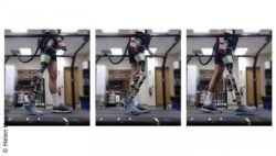 Image: three images of someone walking with the help of the prosthetic knee; Copyright: Helen Huang