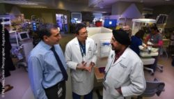 Image: Drs. Babak Baban (from left), Jack Yu and Jatinder Bhatia in the Children's Hospital of Georgia's NICU; Copyright: Phil Jones, Senior Photographer, Augusta University