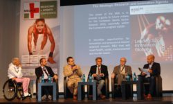 Photo: Andrea Eskau during Panel Discussion at MEDICA MEDICINE + SPORTS CONFERENCE (MMSC); Copyright: beta-web/Günther