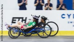 Photo: Two people with recumbent bikes during a race; Copyright: ETH Zürich/Alessandro Della Bella