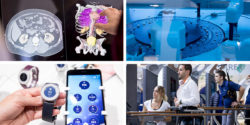 Image: Collage from four different picturese showing products at MEDICA
