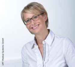 Photo: Smiling young woman with glasses and short blonde hair - Nina Friedrich; Copyright: LMT Medical Systems GmbH