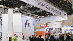 Image: Stand with logo of the Wearable Technologies Show