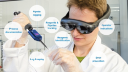 Image: A young laboratory technician with AR glasses uses a pipette, he is surrounded by different bubbles with text; Copyright: Helbling Technik Wil AG