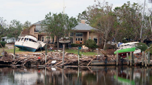 Photo: Damaged house after a hurricane